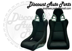 Porsche 997 Style Gt3 Seats In Black Cloth W Black Frp Backing Euro Gt2 Pair