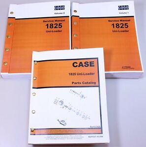 Case 1825 Uni loader Skid Steer Parts Catalog Service Repair Shop Manuals Set