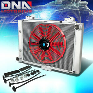 For 1964 Ford Galaxie 500 3 row Tri Core Aluminum Racing Radiator 16 red Fan