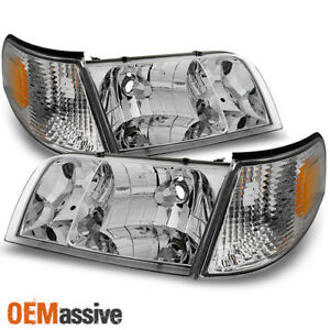 Fit 98 11 Crown Victoria Chrome Headlights W Corner Signal Lamps 4pc Replacement