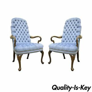 Pair Vintage Queen Anne Ethan Allen Blue Tufted Library Office Lounge Arm Chairs