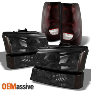 For 03 06 Chevy Silverado 1500 2500 3500 Smoked Headlights Red Smoke Tail Lights