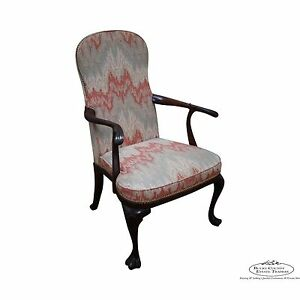 Hickory Chair Solid Mahogany Drake Foot Open Arm Library Chair