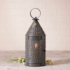 Primitive Lantern 15 Accent Lamp With Chisel Design In Blackened Tin Finish Usa