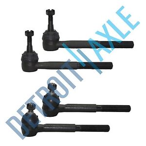 New 4 Pc Kit Outer And Inner Tie Rod Ends For Chevy K1500 Suburban Gmc 4wd