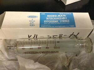 Micromate Syringe 50cc Glass Syringe Popper Luer Interchangeable Research New