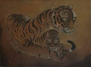 Very Fine 1940 50 S Hand Painting Of Two Korean Tigers On A Scroll
