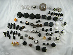 Lot Of 80 Vintage Radio Electronic Control Knobs Metal Plastic Wood