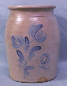 Antique 2 Gal Stoneware Decorated Crock Cobalt Flower Pattern