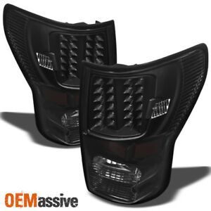 Fits 07 13 Toyota Tundra Pickup Truck Black Led Tail Lights Pair Replacement
