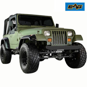87 95 Jeep Wrangler Yj Front Rear Fender Flares 6 Wide Body Black Pocket Rivet