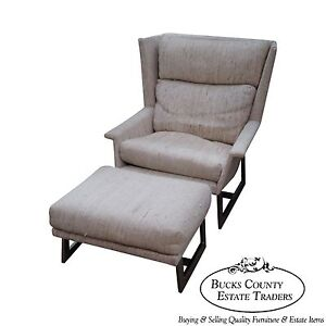 Mid Century Modern Wing Lounge Chair W Ottoman In The Manner Of Milo Baughman