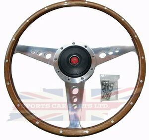New 15 Wood Steering Wheel W Adaptor Hub Jaguar Xke E Type Moto Lita