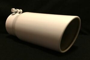 Dodge Gloss White Stainless Diesel Exhaust Tip 4 Inlet 5 Outlet 12 Long