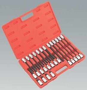 New Hex Allen Bit Socket Set 30 Pieces On 1 2 Drive With Case 55mm 200mm Long