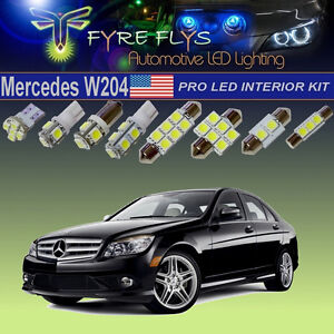 22x 6000k Xenon White Led Lights C class W204 Interior Exterior Pro Package Kit