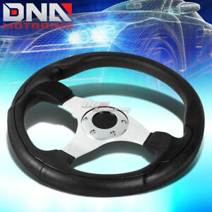 Light Weight Racing 330mm 3 Chrome Spokes Center Pvc Leather Grip Steering Wheel