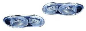 New Headlight Pair With Black Bezel For 1998 1999 2000 2001 Chevrolet Camaro