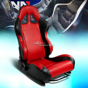 Universal Fully Reclinable Pvc Leather Lightweight Racing Seats Black red Right