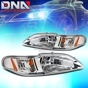 For 1994 1998 Ford Mustang 1pc Design Headlight Turn Signal Corner Lamps Chrome
