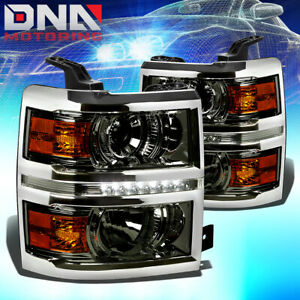For Chevy Silverado 14 16 Projector Led Bar Drl Smoked Housing Amber Headlights