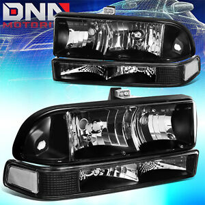 For Chevy S10 Blazer 1998 2004 Black Clear Headlight Bumper Signal Light