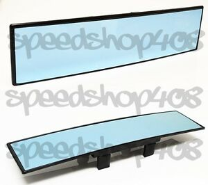 Jdm 300mm Wide Blue Glass Convex Rear View Mirror Clip On Anti glare Blue Tint