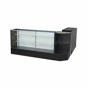 Glass Display Showcase And Counter 4 Piece Set Black New York Pickup Only