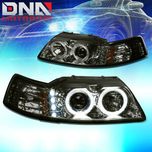 For 99 04 Ford Mustang Smoke Dual Halo Projector Led Amber Corner H