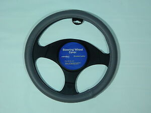 Steering Wheel Cover Simulated Leather Gray