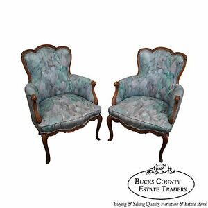 Quality Pair Of Vintage French Bergere Arm Chairs W Mid Century Upholstery