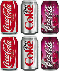 Set Of 6 Coca Cola Drink Can Stickers Coke Ice Cream Catering Van Cafe Logo