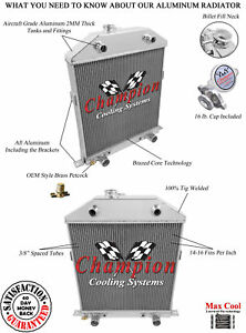 3 Row All Aluminum Ca Champion Radiator For 1942 48 Ford Mercury Flathead Conv