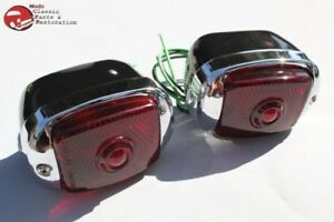 Vintage Chevy Tail Lights Lamp Housings Black Stainless Rim Right Left Pair New