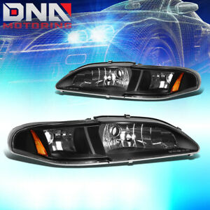 For 1994 1998 Ford Mustang 1pc Design Headlight Turn Signal Corner Lamps Black