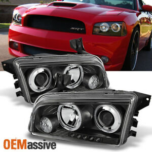 For 06 10 Dodge Charger Black Bezel Dual Halo Led Projector Headlights Lamp Pair