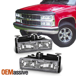 Fits 88 98 Chevy C K Series C10 Pickup Truck Real Glass Crystal Headlights Lamps