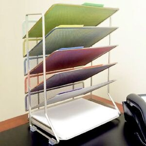 Office Desk Organizer Mesh 6 Letter Trays Paper Holder Sorter Storage Wall Mount