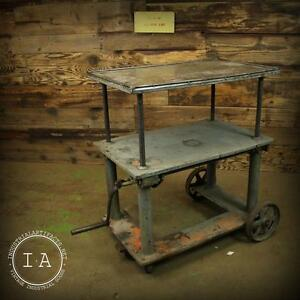 Vintage Industrial Cast Iron Adjustable Die Cart Table Console Table