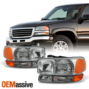 Fit 1999 2006 Gmc Sierra 2000 2006 Yukon Replacement Headlights L R Bumper Lamps