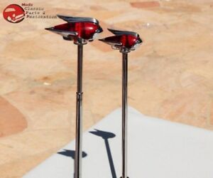 Vintage Style Art Deco Red Led Lighted Front Fender Guides Custom Car Truck Pair
