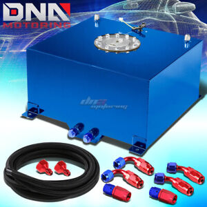 10 Gallon 38l Blue Aluminum Fuel Cell Gas Tank Level Sender Nylon Oil Feed Kit
