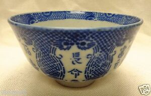 Small Antique Decorative Bowl W Blue Patterns Chinese Characters 2 5