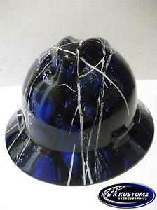 New Custom Msa V Gard Hydro Dipped Full Brim Hard Hat blue Harvest Moon