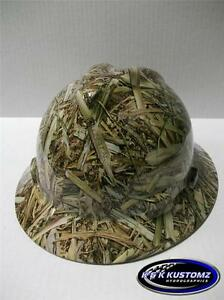 New Custom Msa V Gard Full Brim Safety Hard Hat Fas trac Ratchet Long Leaf Camo