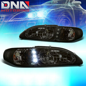 For 94 98 Ford Mustang Smoked Housing One Piece Led Drl Amber Corner Headlight