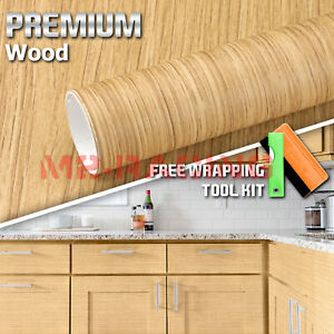12 x48 Wood Grain Vinyl Wrap Sticker Car Home Kitchen Desk Decoration 1393