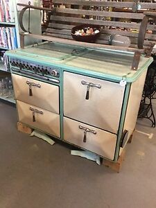 Vintage Enamel Gas Stove 1930 S Green Cream