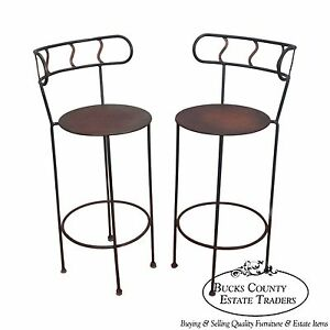 Vintage Pair Of Distressed Industrial Metal Bar Stools