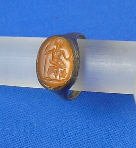Beautiful Ancient Roman Silver Ring With The God Jupiter Maximus In Intaglio